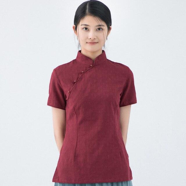adbf971b7b921f Women Vintage Cotton Linen Blouse New Summer Chinese Style Shirt Handmade Button  Top Short Sleeve Mandarin Collar Clothes S-XL