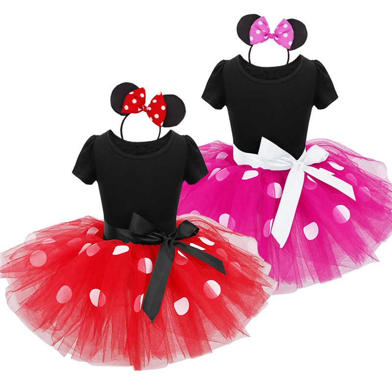2017 Summer New kids dress minnie mouse princess party costume infant clothing Polka dot baby clothes birthday girls tutu dresse 1set baby girl polka dot headband romper tutu outfit party birthday costume 6 colors