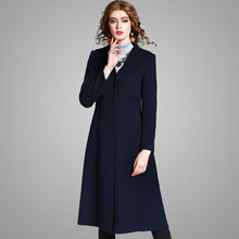 Fashion x-long double sided 100% wool coat 2017 new brand runway women autumn winter solid v-neck slim office lady wool coat