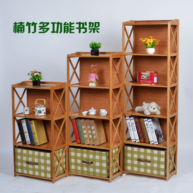 Bamboo Combination Bookcase Child Solid Wood Lockers Ikea Simple Toy Storage Cupboard Shelf Free Shipping
