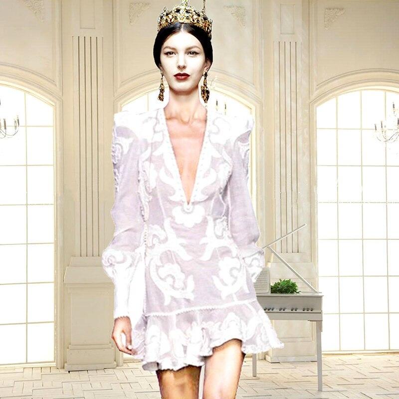 2019 été plage auto Portrait robe concepteur de piste Sexy profonde col en V dos nu broderie robe de sirène