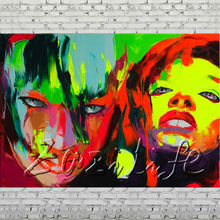 Palette knife portrait Face Oil painting Character figure canvas Hand painted Francoise Nielly wall Art picture 115