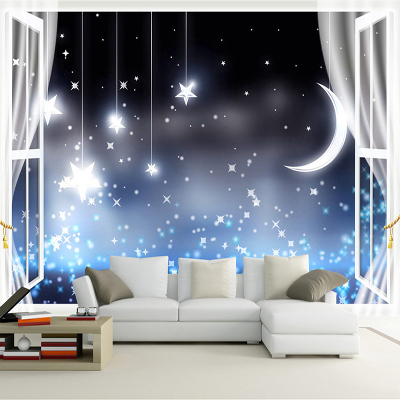 Custom 3D Mural Wallpaper Romantic Moon Night Starry Sky Photo Wallpaper Kid's Room Living Room Backdrop Wall Papel De Parede 3D custom children wallpaper multicolored crayons 3d cartoon mural for living room bedroom hotel backdrop vinyl papel de parede