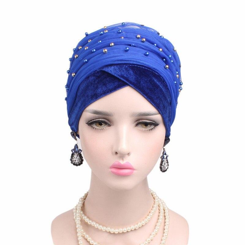 2017 Nouvelle Perle Gypsophila Maille Velours Écharpe Coiffe Longue Queue Cap Chapeau Musulman Populaire Boho Femmes Cheveux Accessoires Livraison Gratuite