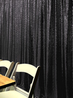 ShinyBeauty 20FT X 10FT Black Luxury Sequin Drapes Big Size Shimmer Sequin Curtain/Backdrop/Background for Wedding Party