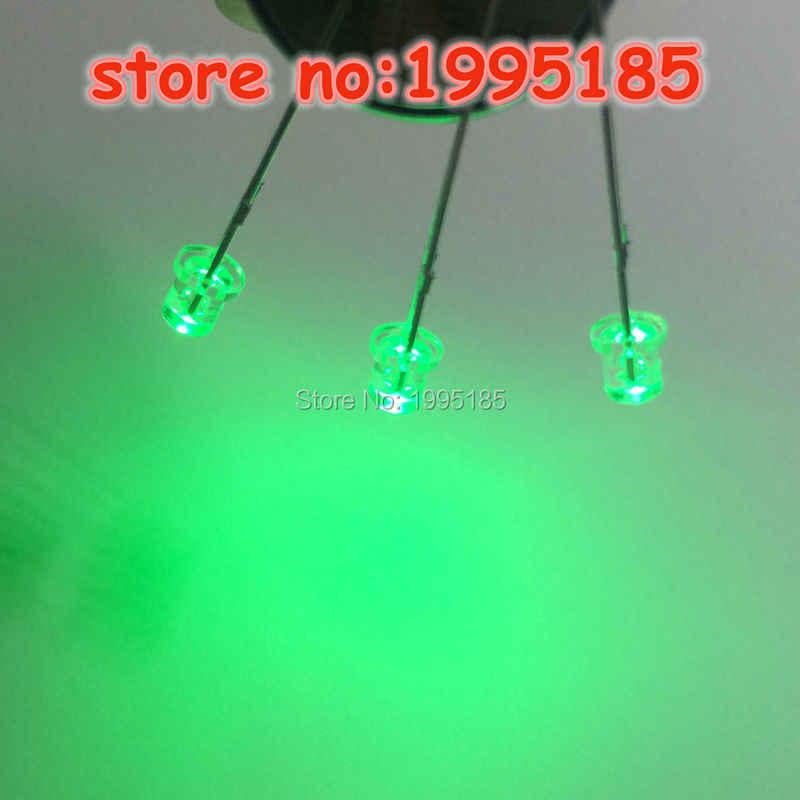 100 قطع/3 ملليمتر اليشم الأخضر المياه واضحة مسطحة أعلى f3 الصمام الخفيفة الخرز الشعر الأبيض الضوء الأخضر السوبر مشرق ساق قصيرة