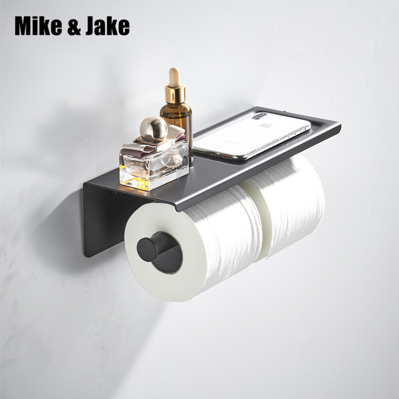 Bathroom 304 double paper holder with phone shelf bathroom holder plate with Roll Holder Tissue Holder