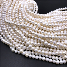 7-8mmAA Freshwater Pearl Beads Geniune White Pearls Round Cultured Pearl Beads for DIY Women Elegant Necklace Jewelry Making недорого