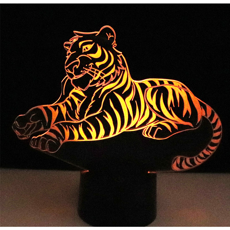3D LED Night Lights Tiger With 7 Colors Light For Home Decoration Lamp Amazing Visualization Optical Illusion Awesome