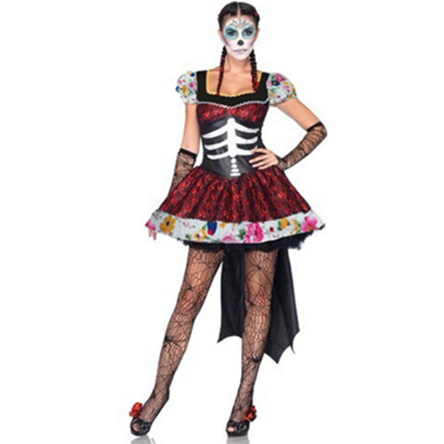Day Of The Dead Mexico Skeleton Costume 2016 Adult Womens Sexy ...