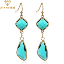 XIYANIKE New Women Trendy Classic Luxury Geometry Crystal Statement Drop Earrings for Women Wedding Jewelry Accessories E1460