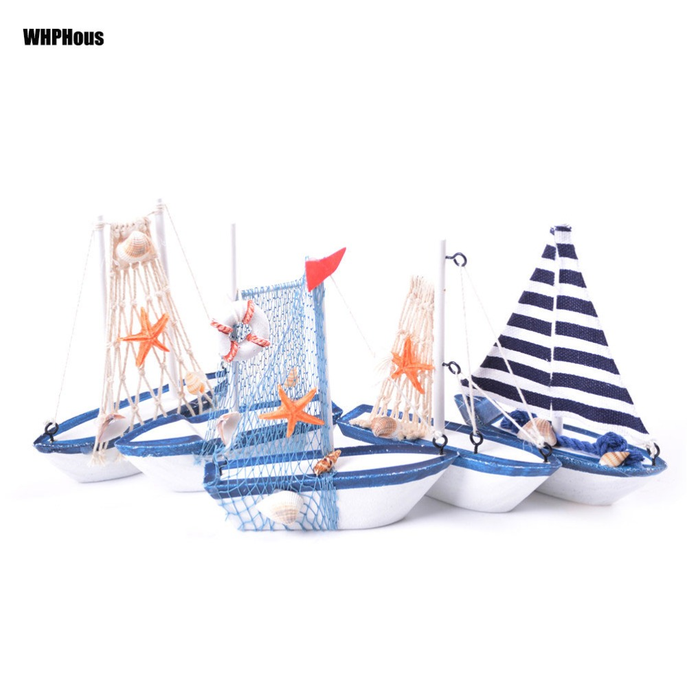 Vintage Mediterranean Style Marine Nautical Wooden Blue Sailing Boat Ship Wood Crafts Ornaments Party Home Room Decoration