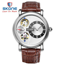 SKONE Automatic Mechanical Watches Men Luxury Brand Genuine Leather Watch Mechanical Self-Wind Quartz Dual Movement reloj hombre
