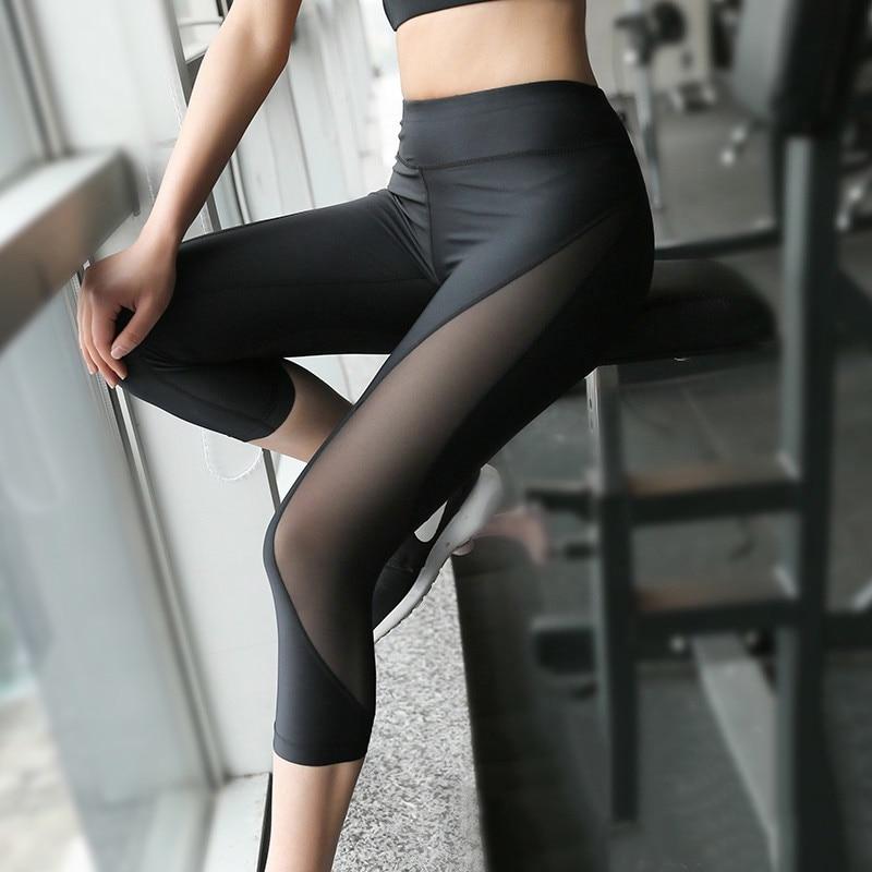 U Сетка Печать Сжатия Колготки Женщины Упругие Йога Спортивные Брюки Бег Упражнения Tight Fitness Gym Quick Dry Тренировки Тренировки