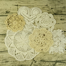 6 Design 14-27CM Modern Lace table mat cloth kitchen crochet Placemat Doily dining tea Cup mug coffee Coaster plate dish Pad 6PC diy retro lace wool placemat cup coaster tea mug coffee kitchen drink table place mat cloth crochet doilies dining felt pad 21cm