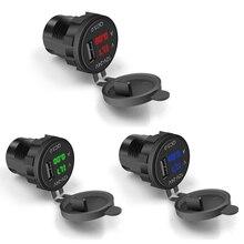 Двигатель QC 3,0 USB телефон адаптер питания для быстрой зарядки светодиодный вольтметр дисплей напряжения автомобиля DC12V-24V водонепроницаемый разъем