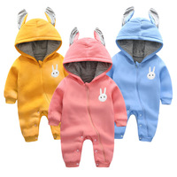 Cute Rabbit Ear Hooded Baby Rompers For Babies Boys Girls Clothes Winter Newborn Clothing Jumpsuit Infant