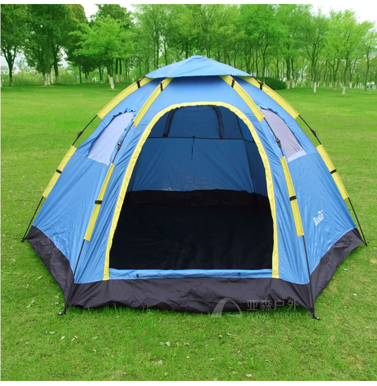 Fully automatic outdoor camping tent tourism tents 3 4 6 8 hexagonal big tent 6 8persons