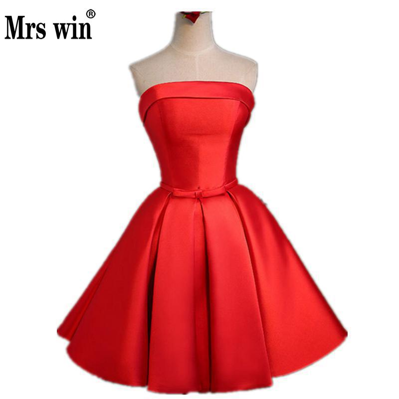 Red Satin Evening Dress 2018 Boat Neck Sexy Belt Lace A-line Bride Party Formal Dress Tuller Homecoming Dresses Robe De Soiree