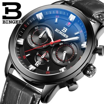 New Classic Switzerland Brand Binger Date Quartz Watches Water Resistant Black Leather Band Steel Wristwatch Men's Dress Watch