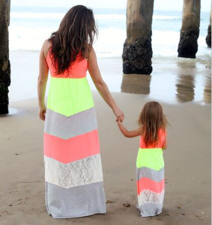 Mommy And Me Matching Dresses 2017 Summer Mother Daughter S Outfits Lace Bohimia Beach Dress Family Look Clothes In From