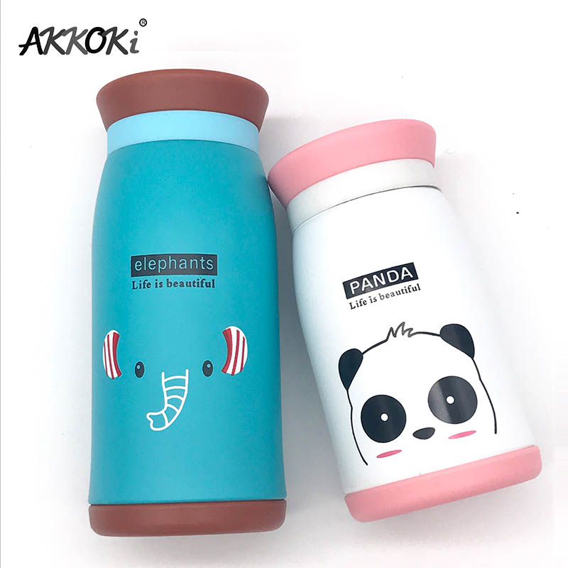 New Arrival 250ml/350ml Cartoon Thermos Cup Bottle Stainless Steel Thermocup Vacuum Thermal Mug Funny Birthday Couple Gift