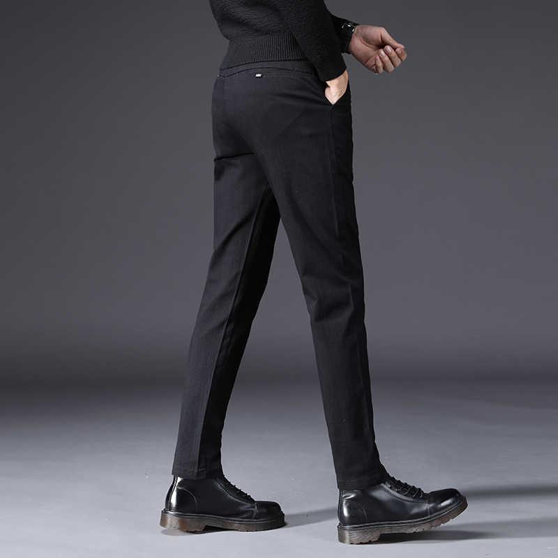 Осенне-зимние мужские повседневные штаны мужские хлопковые узкие брюки в деловом стиле серые Стрейчевые прямые мужские брюки Размер 27-38 Pantalon Hombre