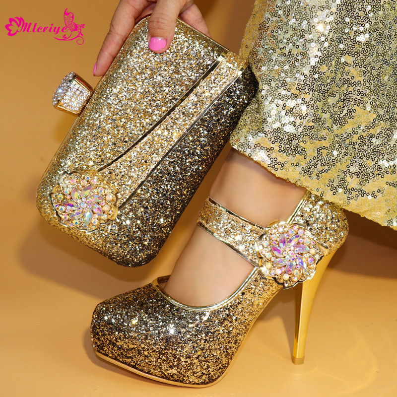 Gold Color Matching Italian Shoe and Bag Set African Matching Shoes and Bags Italian In Women Nigerian Party Shoe and Bag Sets new arrival silver color italian shoes with matching bags shoes and bag set african sets 2018 shoe and bag for wedding party