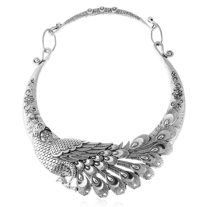 LOVBEAFAS 17 Fashion Ethnic Bohemian Choker Necklace Vintage Peacock Chinese Element Maxi Necklace Statement Collar Necklace 3