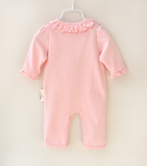 2 Pcs Newborn Girl Organic Cotton Hello Kitty Romper Set Baby Cute Pink Jumpsuit with Hat New Born Ruffled Collar Bowknot Outfit