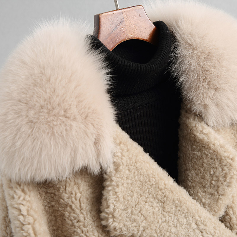 Col Réel Outwear Épaisse Laine Nouveau Manteau Manteaux Mode Renard Veste D'agneau Camel Naturel Fourrure Automne Hiver De Femmes Beige Z477 Vestes TxO8qnzPT