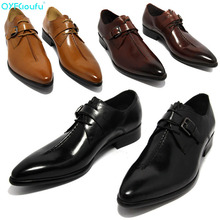 New Arrival Handmade Men Pointy Shoes Genuine Leather Dress Shoe Mens Business Casual Classic Hasp Gentleman