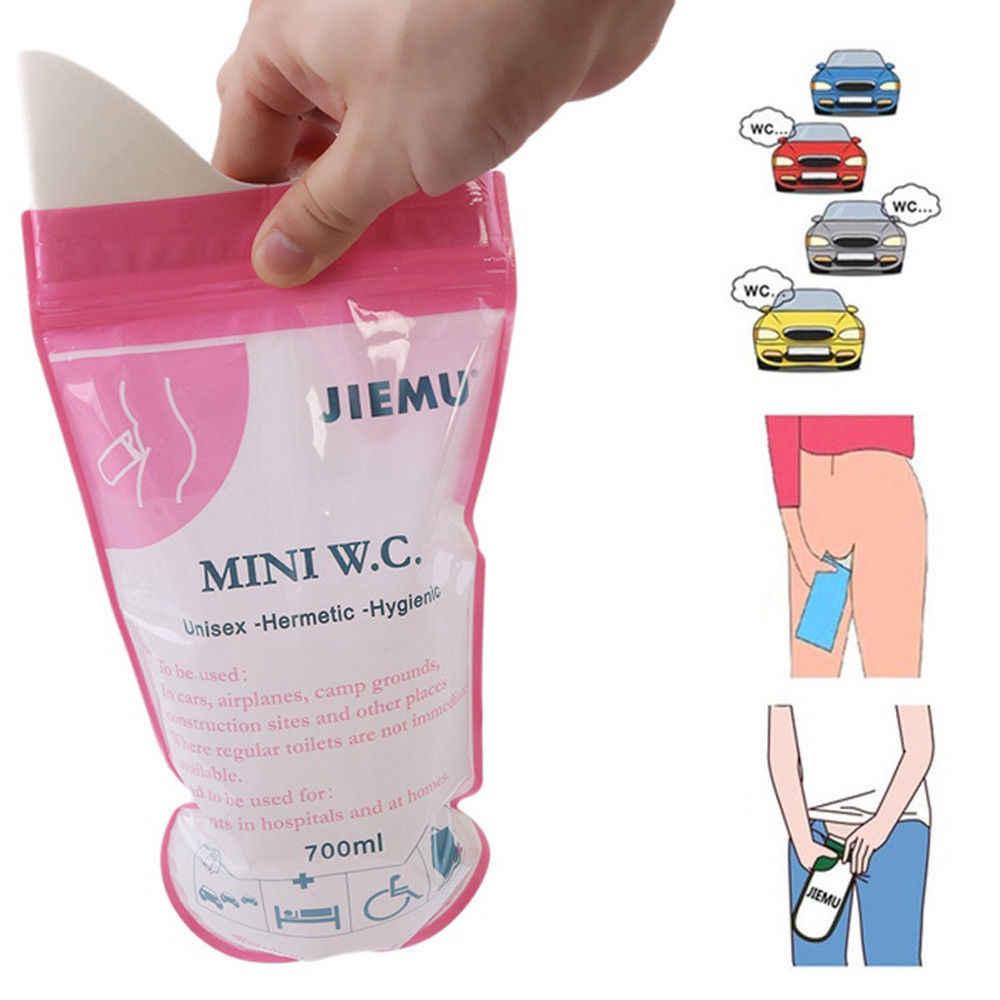 Saco portátil da urina do carro da emergência de 4 pces 700ml sacos do vômito mini sanitários móveis descartáveis acessível unisex crianças usando ao ar livre mini w.c.