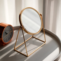 Modern Simplicity Style High Quality Brass Framed Makeup Mirror Office Bedroom Makeup Copper Mirror Home Decoration Accessories