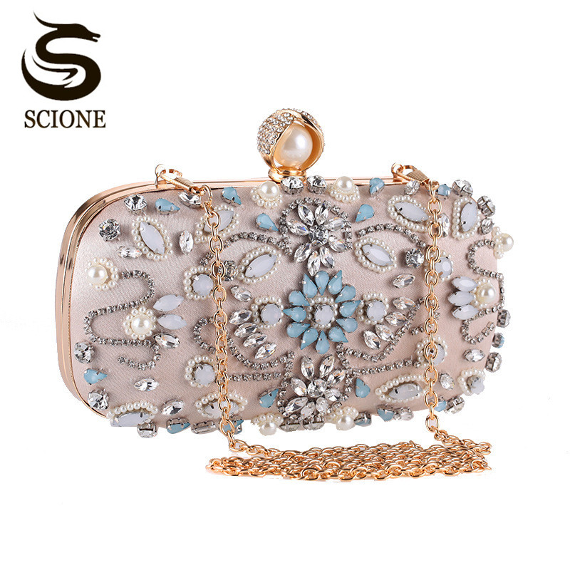 Luxury Clutch Purse Women Crystal Diamond Evening Bags White Pearl Beaded Shoulder Party Bag Bridal Wedding Clutches Handbags l64 sandalwood comb green tan comb mini sandalwood comb page 7