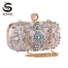 Luxus Clutch Geldbörse Frauen Kristall Diamant Abendtaschen Weißen Perle Perlen Schulter Party Tasche Braut Hochzeit Kupplungen Handtaschen
