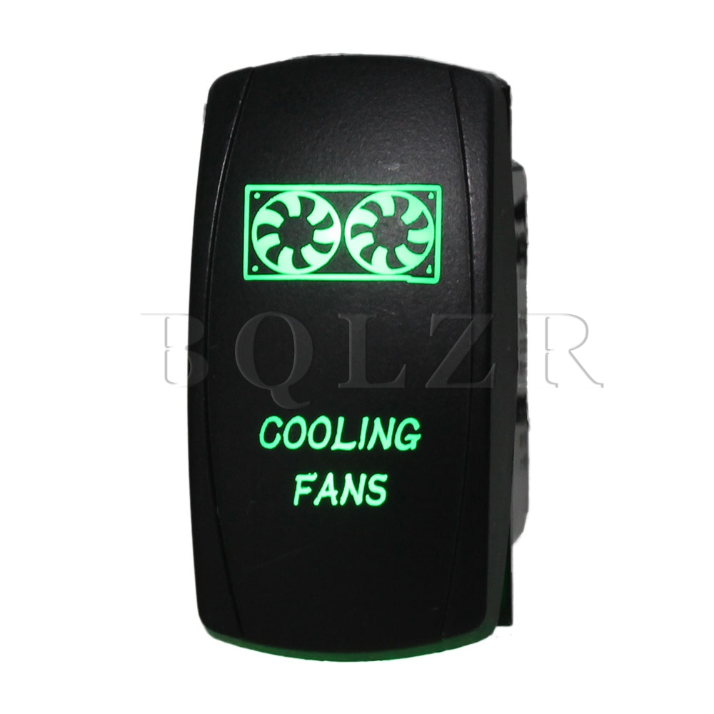 BQLZR DC12-24V Car 5pin Waterproof IP68 Cooling Fans Green ON-OFF Rocker Switch bqlzr dc12 24v black push button switch with connector wire s ot on off fog led light for toyota old style