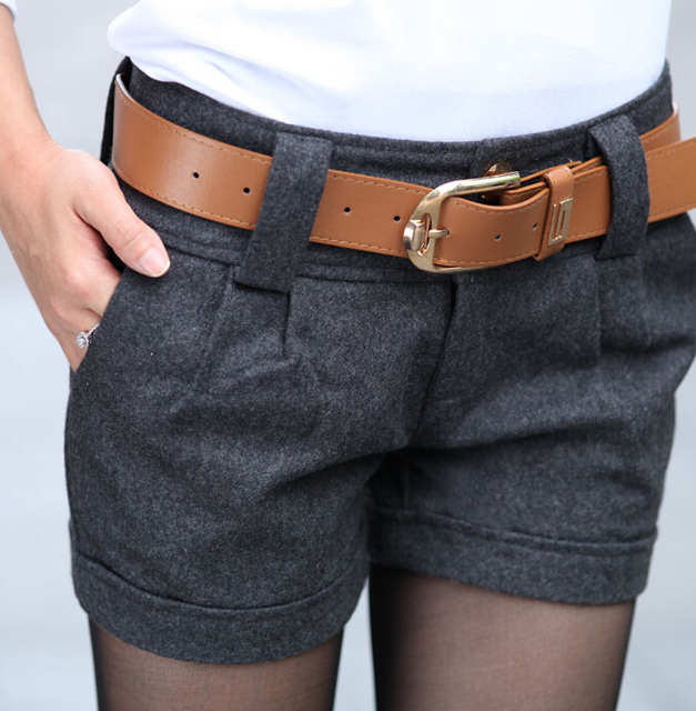 Free Shipping High Quality Autumn Winter New Arrival Korean Woolen Short Pants With Belt