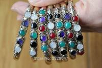 BR003 Wholesale Tibetan Jewelry Nepal 3 Color Copper Slim Open Cuff Bangle 5 Colorful Beads Girls