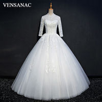 VENSANAC 2017 New Beadings High Neck Wedding Dresses Elegant Long Sleeve Satin Embroidery Lace Appliques Bridal