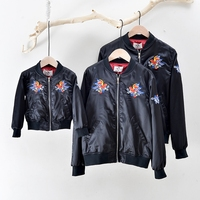 Spring and autumn Father Mother Kids Outfits Family Matching clothes Embroidery Jacket Parent child coats Children outerwears