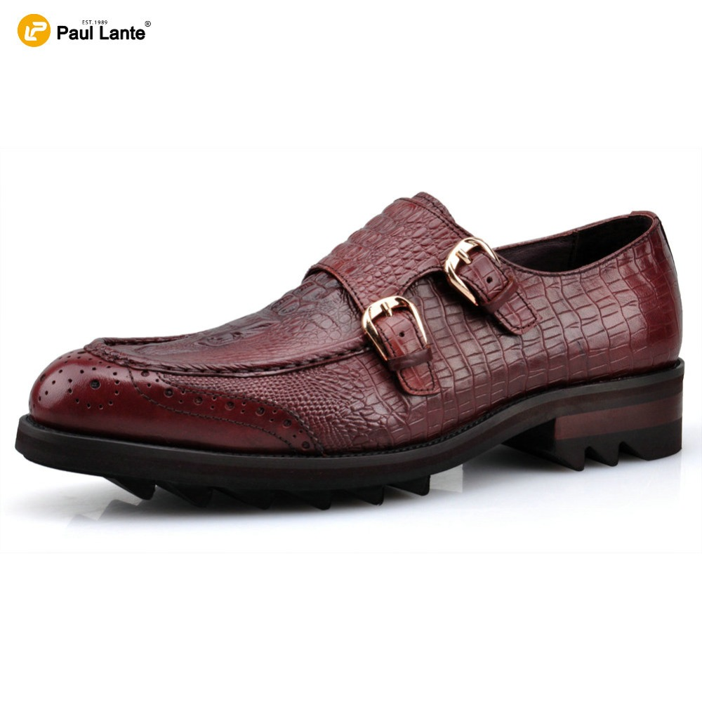 ФОТО New Men's Wedding Dress Shoes Leisure Casual Crocodile Genuine Leather Business Brogue Shoe Moccasins Pointed Toe Oxfords Shoes