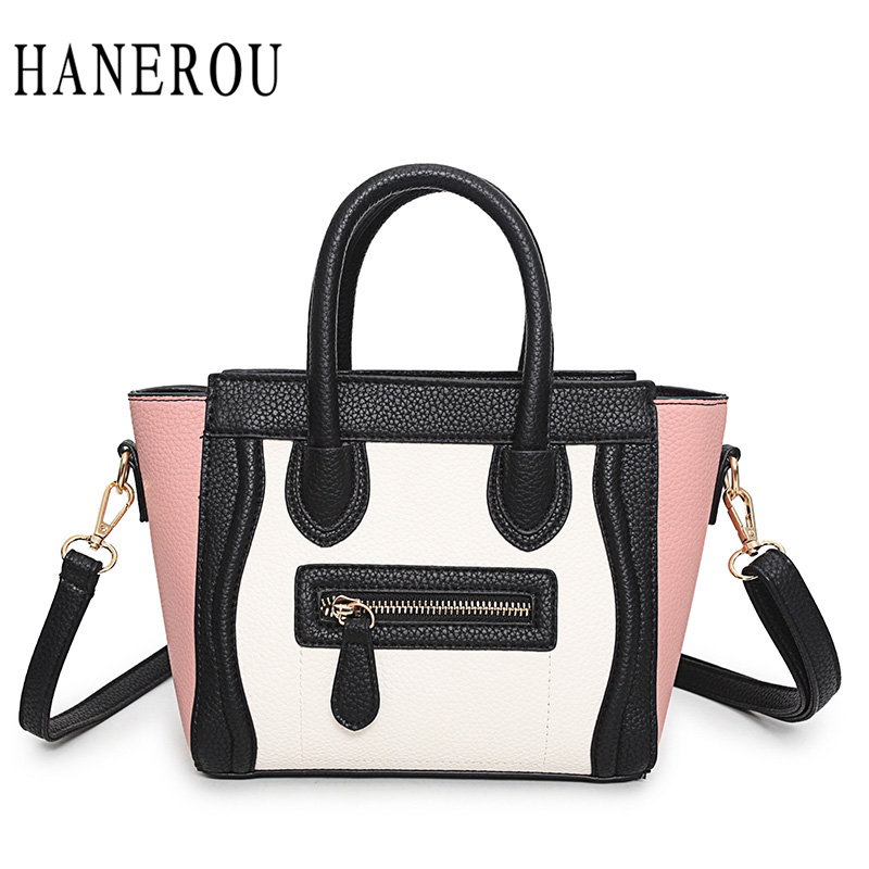 Fashion Patchwork Trapeze Bags Handbags Women Famous Brands Women Crossbody Bag Smile Face Ladies Hand Bags New Big Capacity Sac feral cat ladies hand bags pvc crossbody bags for women single trapeze shoulder bag dames tassen handbag bolso mujer handtassen