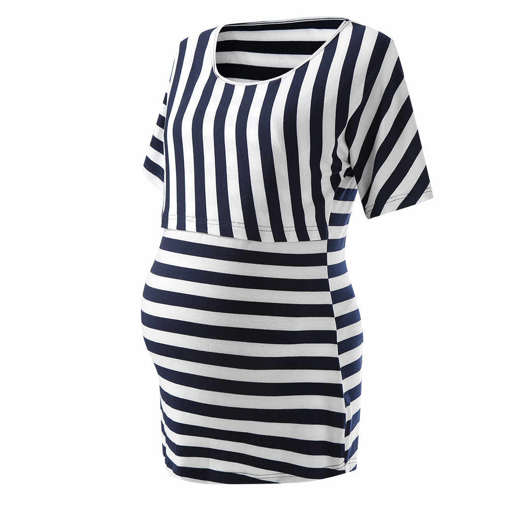Vetement femme 2019, женские топы для беременных, одежда для кормящих, полосатый топ для кормления грудью, футболка, блузка, ropa de mujer, одежда