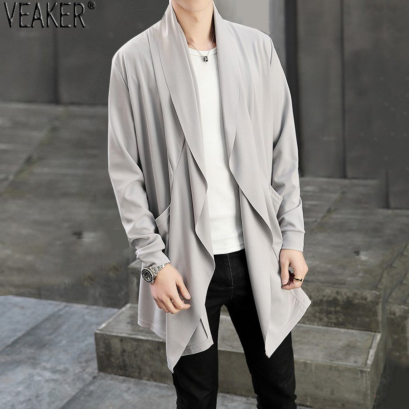 2019 New Men's Autumn Long Cardigan Coat Male Long Sleeve Slim Fit Black Gray Cardigans Draped Collar Casual Cardigan Jackets