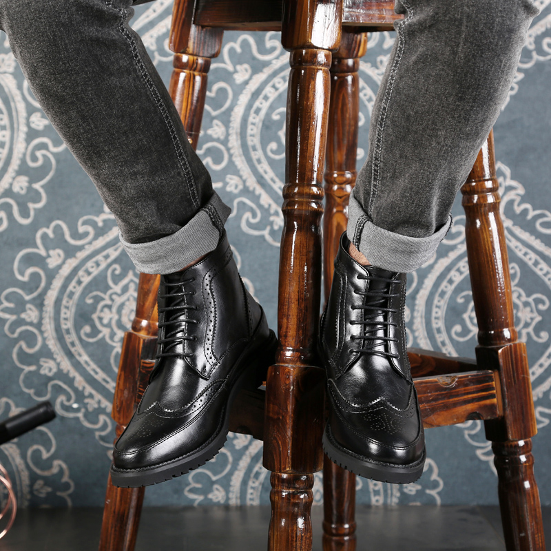 Bottes Hiver Nouveau D'hiver Desert Socks Cuir Noir Boot Casual Mode À Chaussures Socks Cheville De brown En Étanche Lacets Hommes Black With Véritable 3AjL45cRqS
