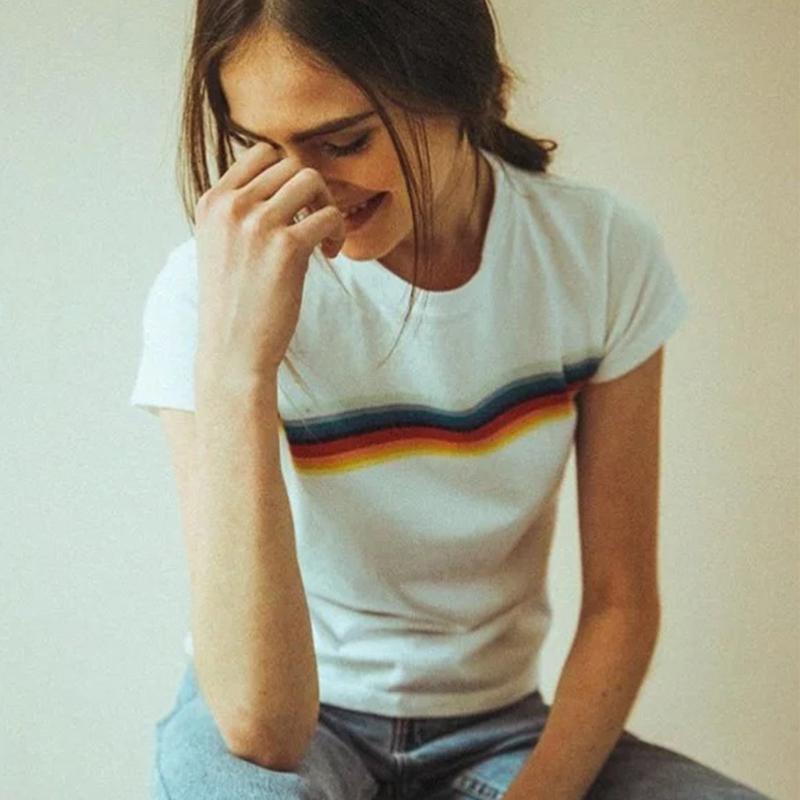 HTB1IK.uPVXXXXcUaFXXq6xXFXXXm - Rainbow Stripes Crop T-shirt PTC 141