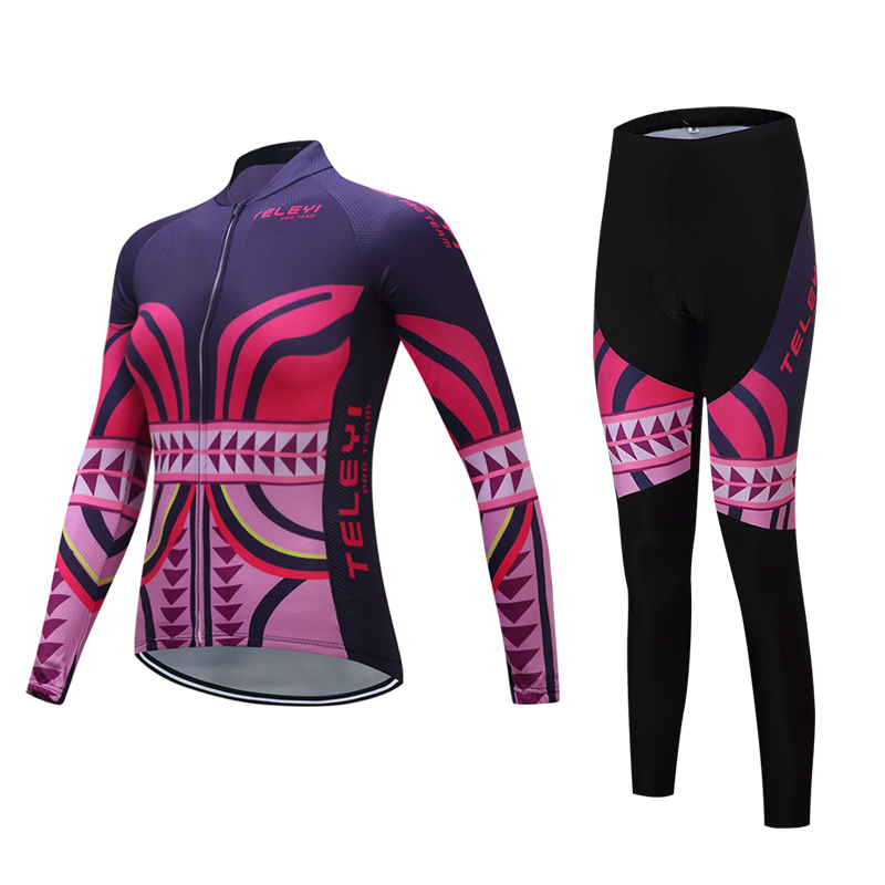Teleyi Pro Team Long Sleeve Cycling jersey Sets Women Sportswear Mtb Bike Bicycle 3D Gel Padded Cycling Clothing hot cheji women mtb bike jerseys shorts sets female pro team cycling clothing suits white summer bicycle shirts sportswear top