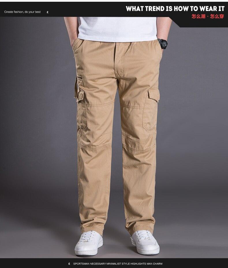 d1a3e15d805ad 2019 Man Multi Pocket Cargo Pant Male Comfort Trousers Khaki Black ...