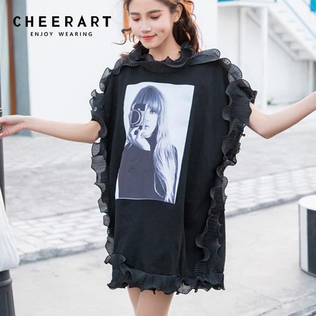 a3814534daa3 Cheerart Spring 2018 Sleeveless Women Summer T Shirts Ruffles Loose Top  White Black Patch Characters Print Tee Shirt Korean
